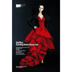 Female Evening Gown Dress Set (Red)
