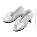 Shoes Series - White Bow Open-Toe Heel Shoes