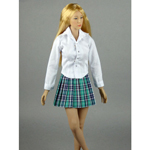 Female Shirt & Plaid Skirt Set (Green)