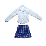 Female Shirt & Layered Skirt Set (Blue)