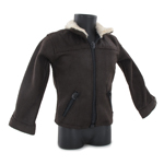 Suede Jacket with Fur Collar (Brown)
