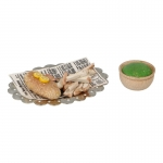 Fish And Chips with Diecast Plate and Sauce Bowl (Brown)