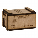 Wooden Caliber 50 Cartridges Ammo Box (Beige)