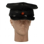 Leather M35 Officer Visor Cap (Black)