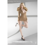 Female Fashion Short Dress Suit Set (Beige)
